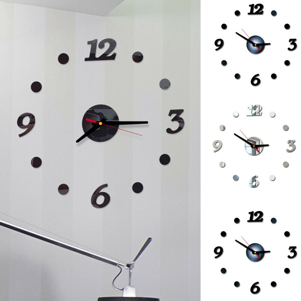 3D Modern DIY Wall Clock Living Room Home Decoration Fashion Crystal Mirror Stickers Vinyl Art Sticker Decal