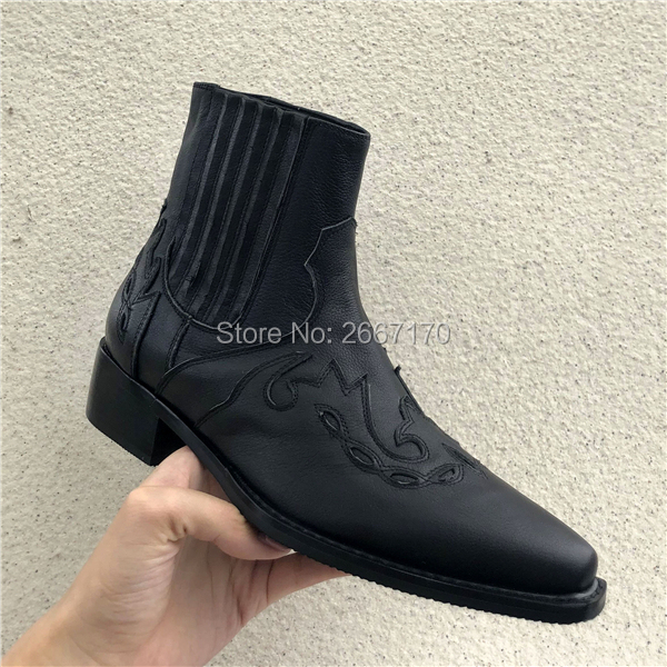 Autumn Winter Western Black Leather Ankle Botas Pointed Toe Elastic Slip On Men's Shoes Cuban Block Heels Rugged Cowboy Boots