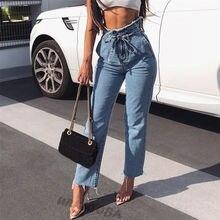 Las mujeres de cintura alta Denim Pantalones vaqueros azul negro lápiz  recto Jeans pierna ancha pantalones de moda cremallera Pa. 4183253afde