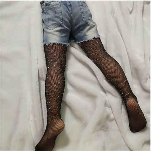 แฟชั่นเด็กเด็กผู้หญิงคริสตัล Rhinestone ตาข่าย Fishnet สุทธิรูปแบบถุงน่องถุงน่องเจาะกางเกงถุงน่อง Pantyhose