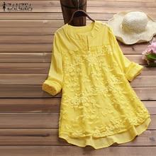 2019 ZANZEA Summer Women Elegant V Neck Long Sleeve Loose Cotton Linen Tops Party Shirt Casual Vintage Embroidery Work OL Blouse