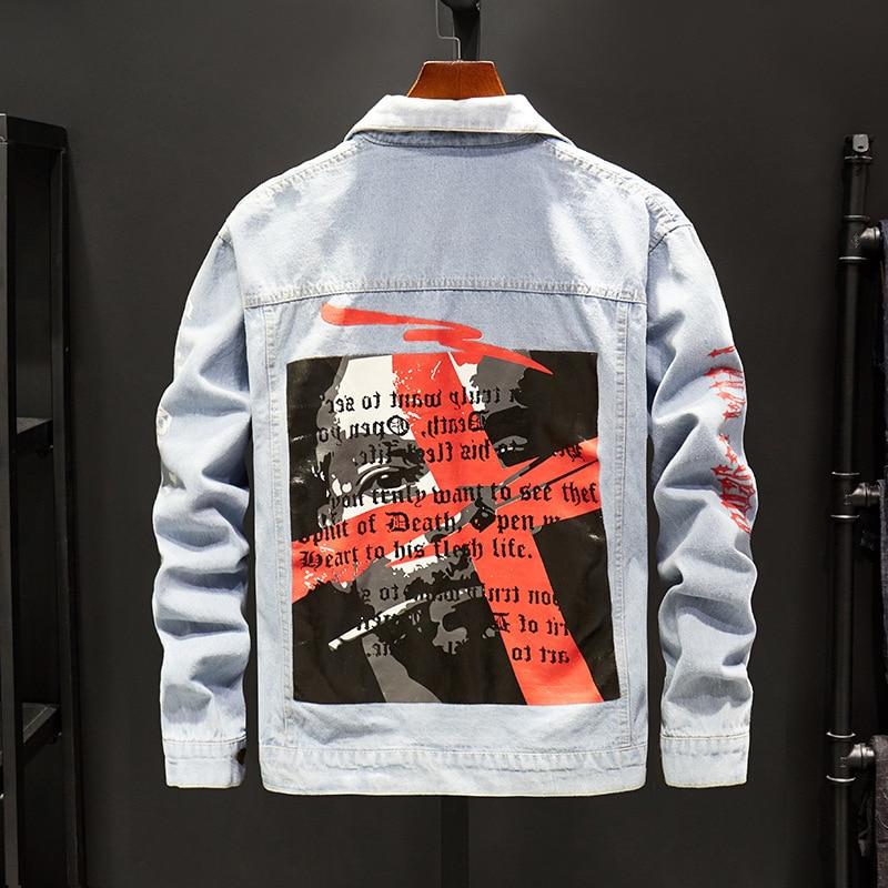 Imprimer Harajuku Pour Noir Noir Printemps Veste Hommes vent Coupe Denim Homme 7454 Déchiré Bleu Lettre Streetwear Jeans Bombardiers bleu w4qCCaSxY