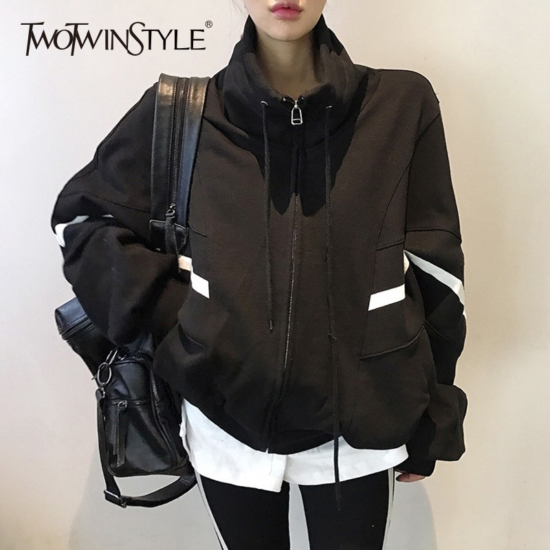 TWOTWINSTYLE Autumn Oversized Sweatshirt Coats Female Batwing Sleeve Drawstring Tops Jacket For Women 2019 Casual Fashion