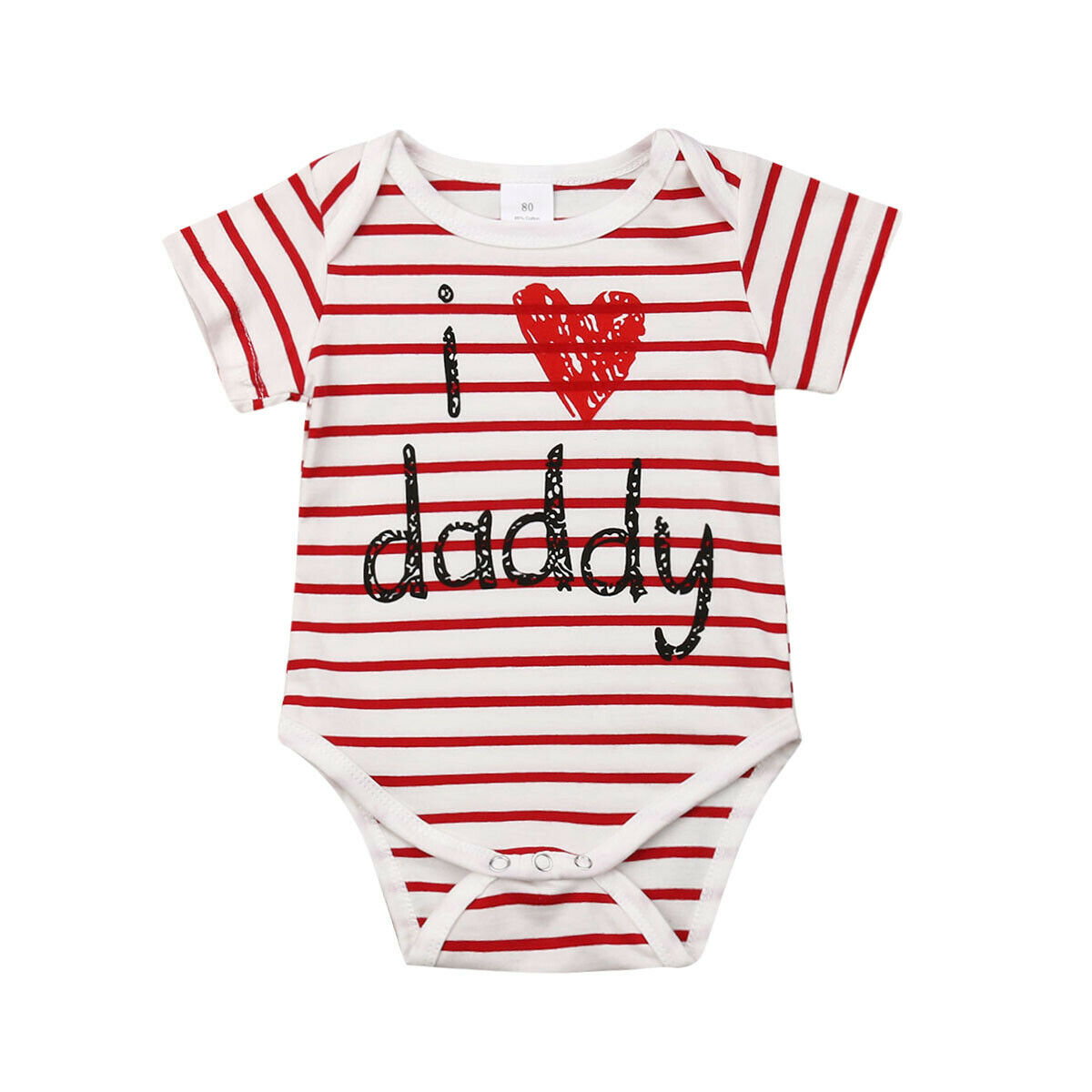 I love daddy Newborn Baby Boy Girl Short Sleeve Striped Cotton   Romper   Jumpsuit One Pieces Outfits Baby Clothes