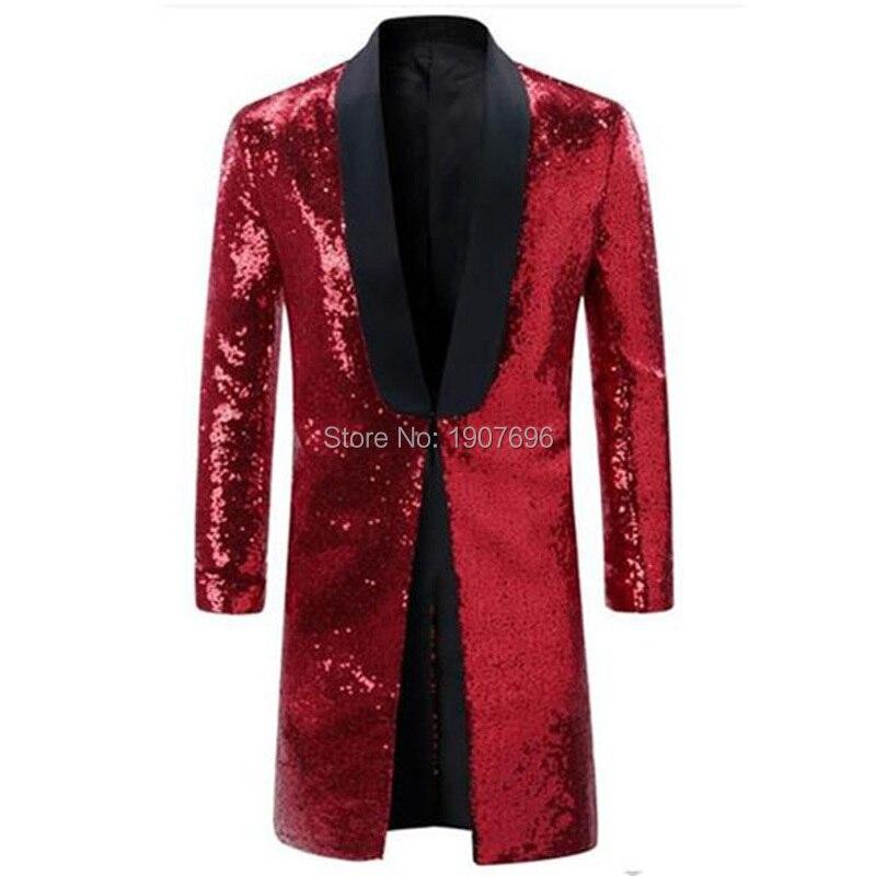 ロングナイトクラブ男性ブレザー赤スパンコール歌手ステージ男ジャケットためキラキラ衣装 2019 黒ショールラペル男性服  グループ上の メンズ服 からの ブレザー の中 1