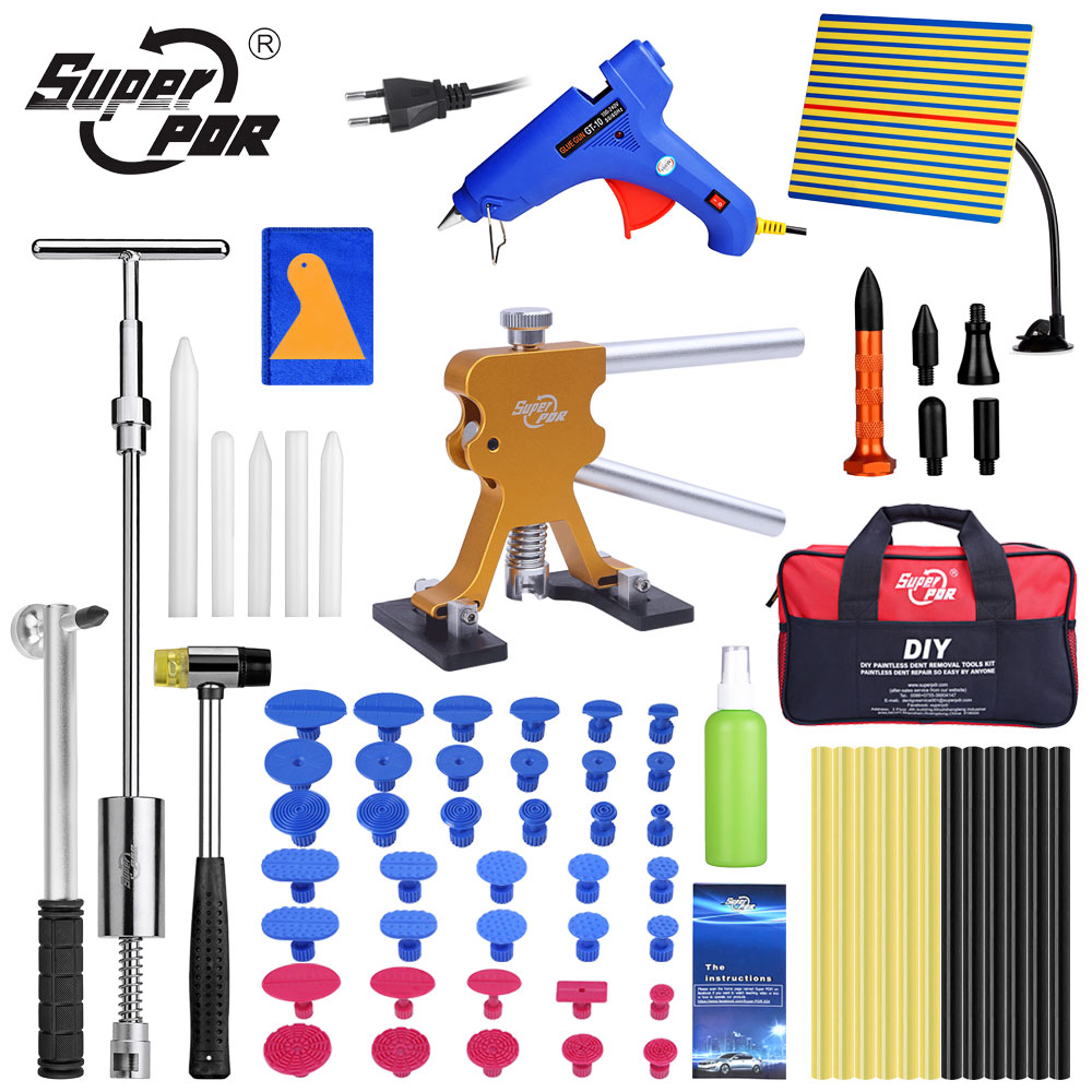 Super PDR Tool Kit For Car Dent Pullers Suction Cup Hot Melt Glue Gun Line Board Dent Removal Kit Paintless Dent Repair Tool Set super pdr tools dent removal kit for car dent puller suction cup glue sticks for hot melt glue gun line board pump wedge air bag
