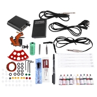 Complete Tattoo Kits Professional Machine Power Pedal 10 Color Ink Sets Nutrition Disposable Needle Gripping Tip Eu Plug
