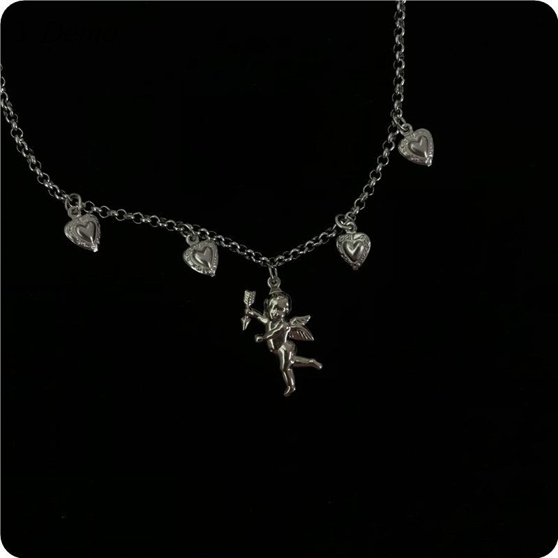 Girl Stylish Cupid Heart Shaped Pendant Necklace Angel Love Chain Choker Collar Necklace