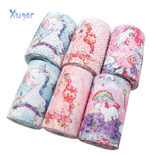 2yards 3 75mm Sequin Ribbon Reversible Printed Unicorn DIY Hair Accessories Headwear Materials Wedding Party Decoration