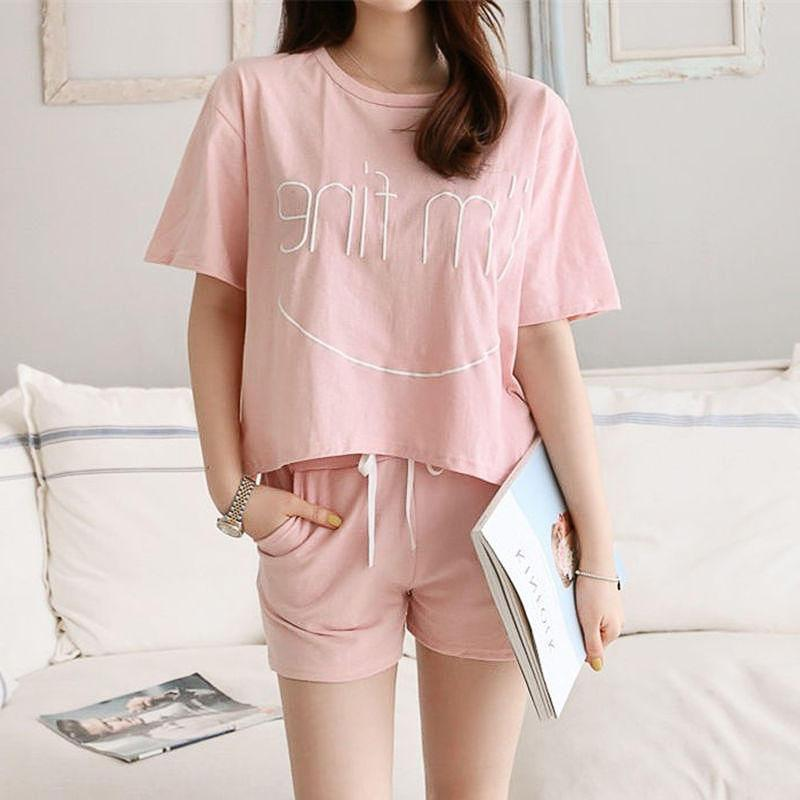 MISSKY Women Summer   Pajama     Sets   Letter Printing Lovely Casual Large Size Sports Short Sleeve Home Suit Female Clothes
