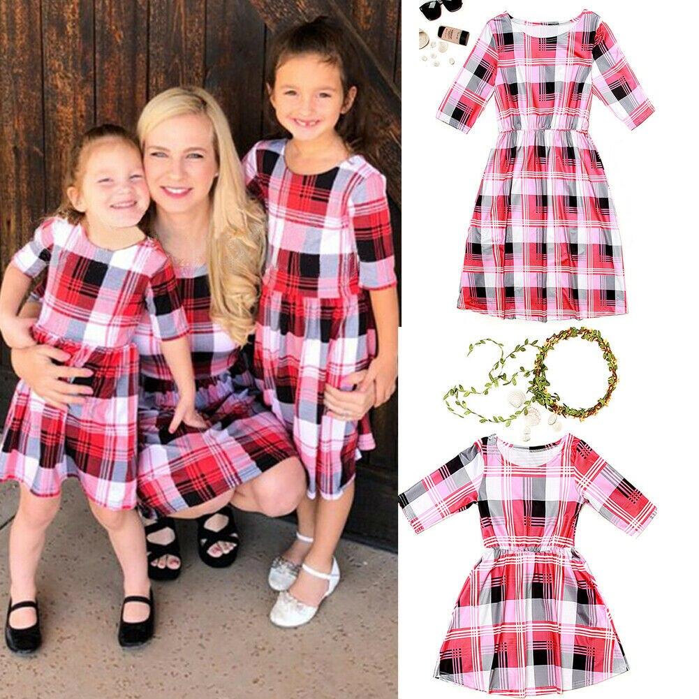 Pudcoco Familie Kleid Usa 2019 Mutter Und Tochter Kleid Red Plaid Print Passenden Mom Mädchen Kleid Durchblutung Aktivieren Und Sehnen Und Knochen StäRken