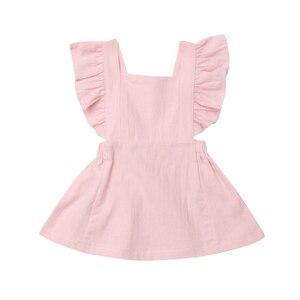 Платье для новорожденных CANIS, однотонное платье с оборками для девочек 0-3 лет, летняя одежда для новорожденных, 2019
