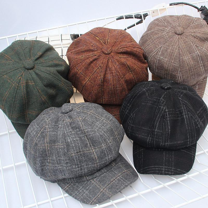 Winter Hats Beret-Cap Octagonal-Cap Retro Korean Male Women Casual-Hat Plaid Autumn Warm