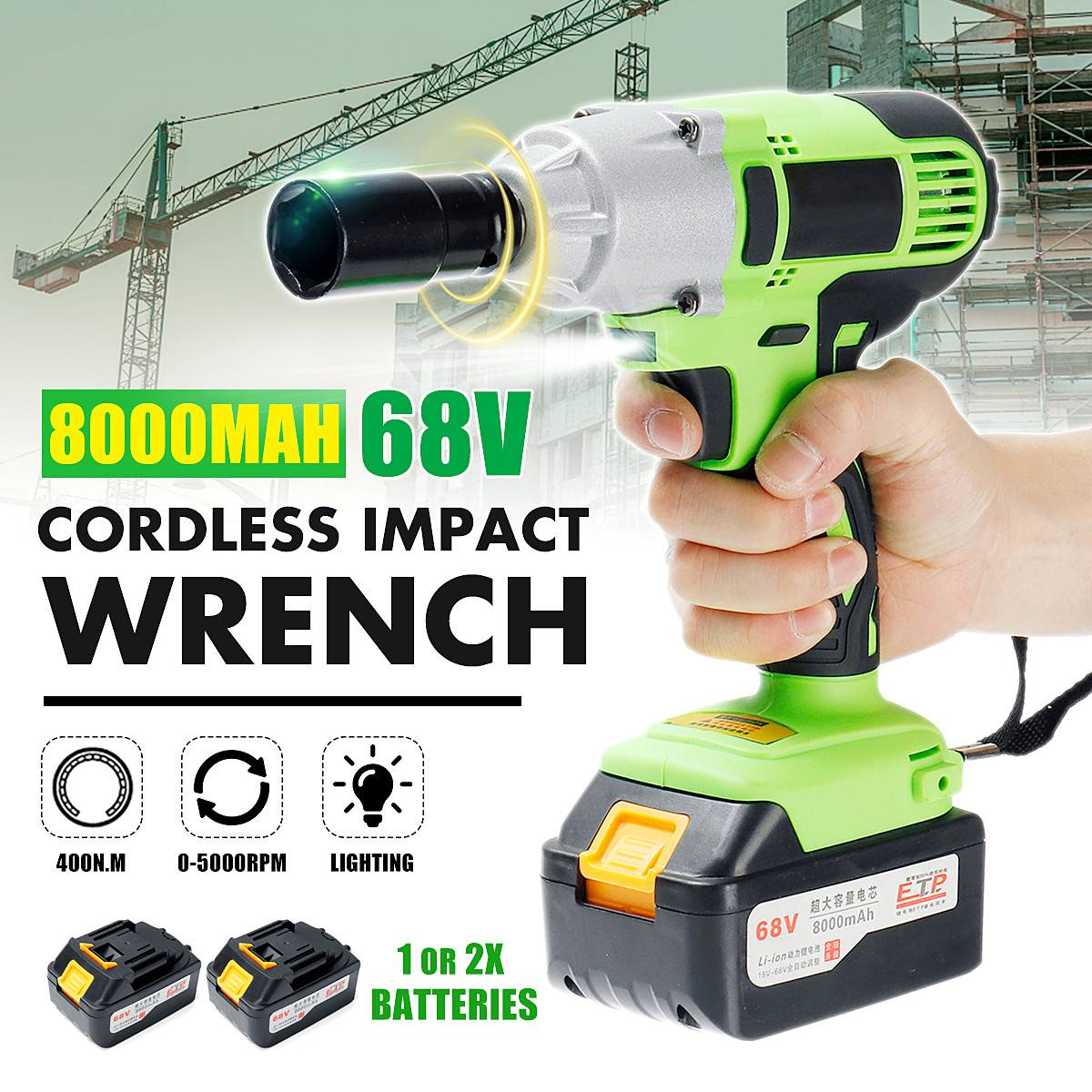 Diy Home 400n M Max Brushless Cordless Electric Impact Socket Wrench 68v 8000mah Driver Hand Drill Installation Tools In Wrenches From