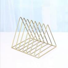 Nordic triangle simple wrought iron Home Decor desktop storage rack shelf file magazine jewelry gold storage box office rack(China)