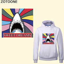 ZOTOONE Fashionable Shark Iron On Transfers For Clothes T-shirt Letter Patch Stickers Applique Heat Transfer Vinyl Thermal Press