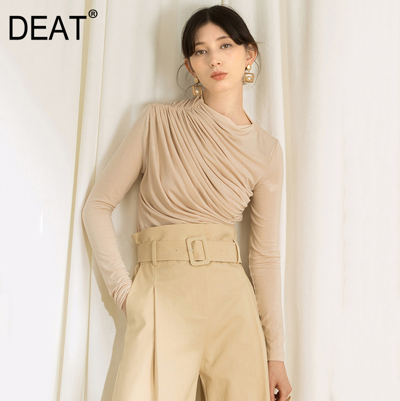 DEAT 2019 New Spring Summer Round Neck Long Sleeve Apricot Brief Loose Pleated Stitch T