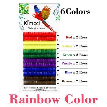 Kimcci Candy 6 Colors Rainbow Colored Eyelash Extension Faux Mink Individual Colorful Eyelashes maquiagem Cilios Premium Cilia
