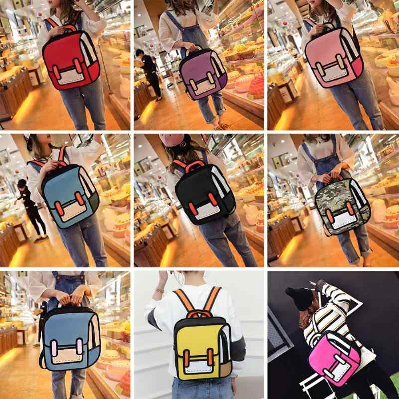 a7f7ba571ff7 Fashion 3D Cartoon Backpacks Cute Mummy Diaper Bags 2D Drawing Women  Backpack Jump Style Comic Travel Baby Nappy Bag Organizer