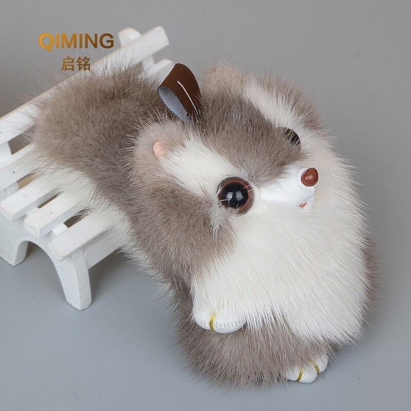 Nouveau 100% vison petit écureuil en peluche pendentif sac à dos femmes accessoires fourrure ornements Anime mignon chaînes fille cadeau