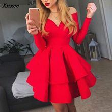 Fashion Elegant Party Dresses Women Autumn Clothes Long Sleeve V Neck Sexy Mini Ball Gown Female Vestido S M L XL Xnxee цены