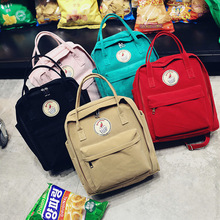 Backpack Women Lady Korean Literary Solid Color Backpack Canvas Junior High School Bags For Teenage Girls Student Men Mochila