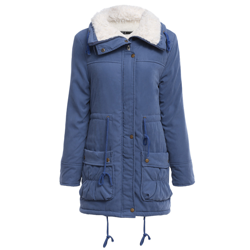Women Causal   Parkas   Mujer 2019 Winter Slim Long Sleeve Hooded Medium Long Padded Jacket Causal Wool Liner Coat Casaco Feminino