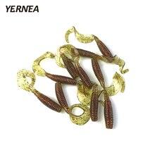 Yernea 10pcs/Lot 6cm Silicone Soft Baits Fishing Lure 1.8g Soft Lure Worm Shrimp Tail Maggots Fishing Tackle artificial Ocean цена