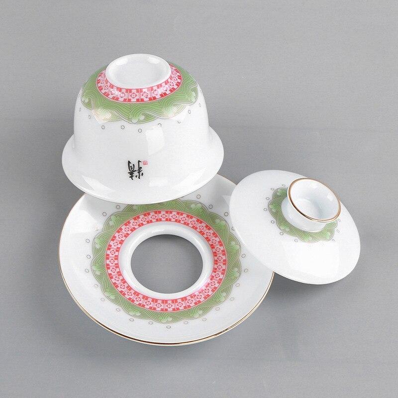 Tè Dehua Porcellana Bianca Traccia UN Disegno In Oro Tè Insieme del Vestito Piccolo Fresco Concise 6 Tazza di Lavorare In un Ufficio Per La Casa Tea Set - 3