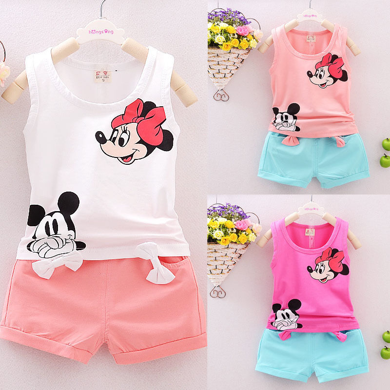 Summer Mickey Toddler Girl Clothes Children Set Bow Infant Kids Baby Girls T-shirt Tops+Short Pant 2PCS Outfits Ropa De Niña Set