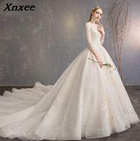 Модные платья для женщин 2019 Съемная Поезд аппликационные Жемчужины для кружева свадебные Vestido De Novias Vestidos Noiva Xnxee