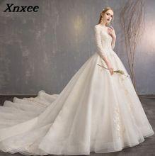 Fashion Dresses 2019 Detachable train Lace Appliques Pearls Bridal Gowns Vestido De Novias Vestidos de Noiva Xnxee