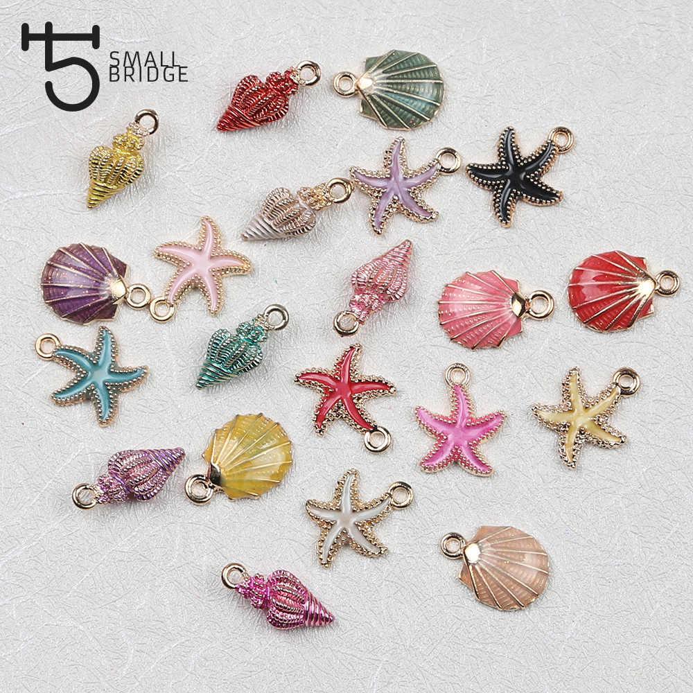 7 6 8 21 pçs/set Gota de Óleo Liga Moda Encantos Do Esmalte para Fazer Jóias handmade pingente de colar starfish shell beads atacado