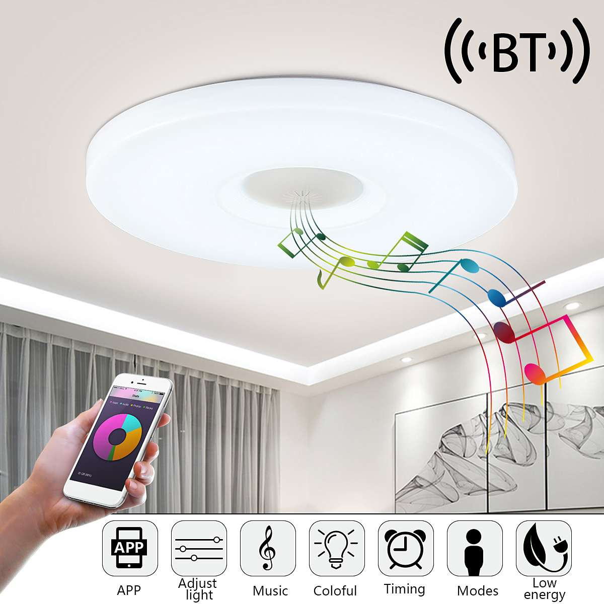 Home Lamp 24W/36W LED Music Ceiling Light  Dimmable APP Remote Control Colorful Ceiling Light  with a bluetooth speakerHome Lamp 24W/36W LED Music Ceiling Light  Dimmable APP Remote Control Colorful Ceiling Light  with a bluetooth speaker