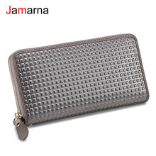 Jamarna Wallet Female Genuine Leather Wallet Female New Arrival Zipper Purse Red Clutch Coin Mobile Pocket Card Holder Square(China)