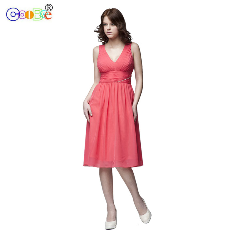 Coobee   Bridesmaid     Dress   Short Luxury Pleat A-line V-neck Celebrity Homecoming Party Prom Chiffon   Dress   for Wedding Party BR10011