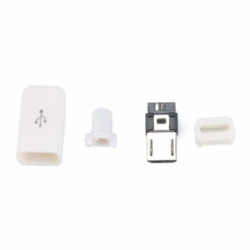 10 unids/set 4 en 1 DIY Micro USB tipo de soldadura macho 5 conector pin w/cubierta de plástico Blanco/negro