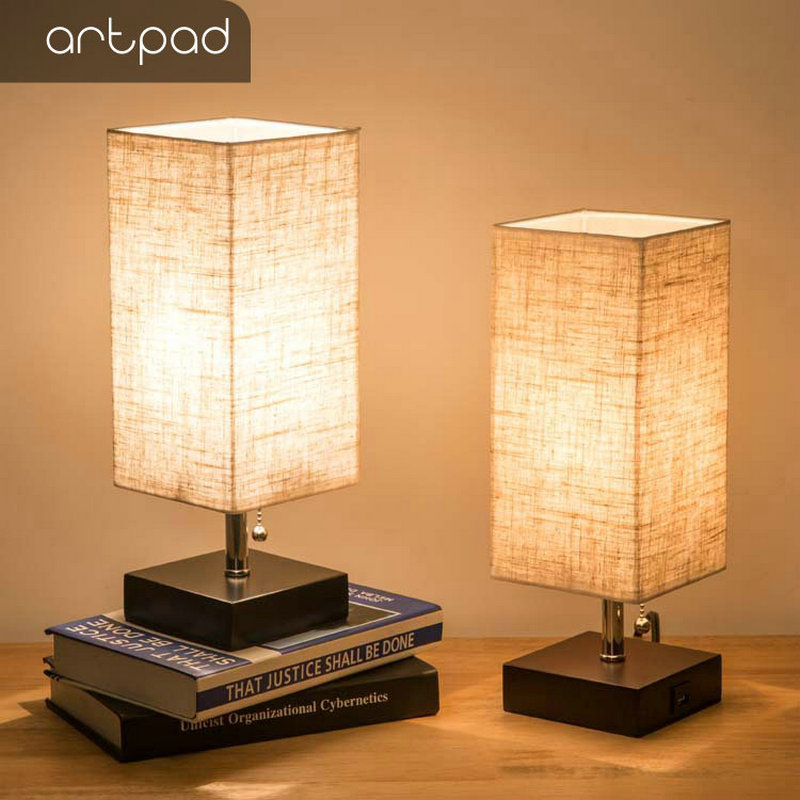 Artpad Japanese Table Bedside Lamps for Bedrooms Lighting Fabric Lampshade LED Study Table Lamp With USB Port for Charging Phone