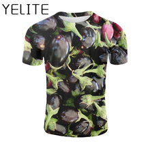 YELITE Vegetable 3D T-shirt Eggplant Print T Shirt Hip Hop Harajuku Tshirt Fruit Printed Tees Men Casual Funny Short Sleeve Tops