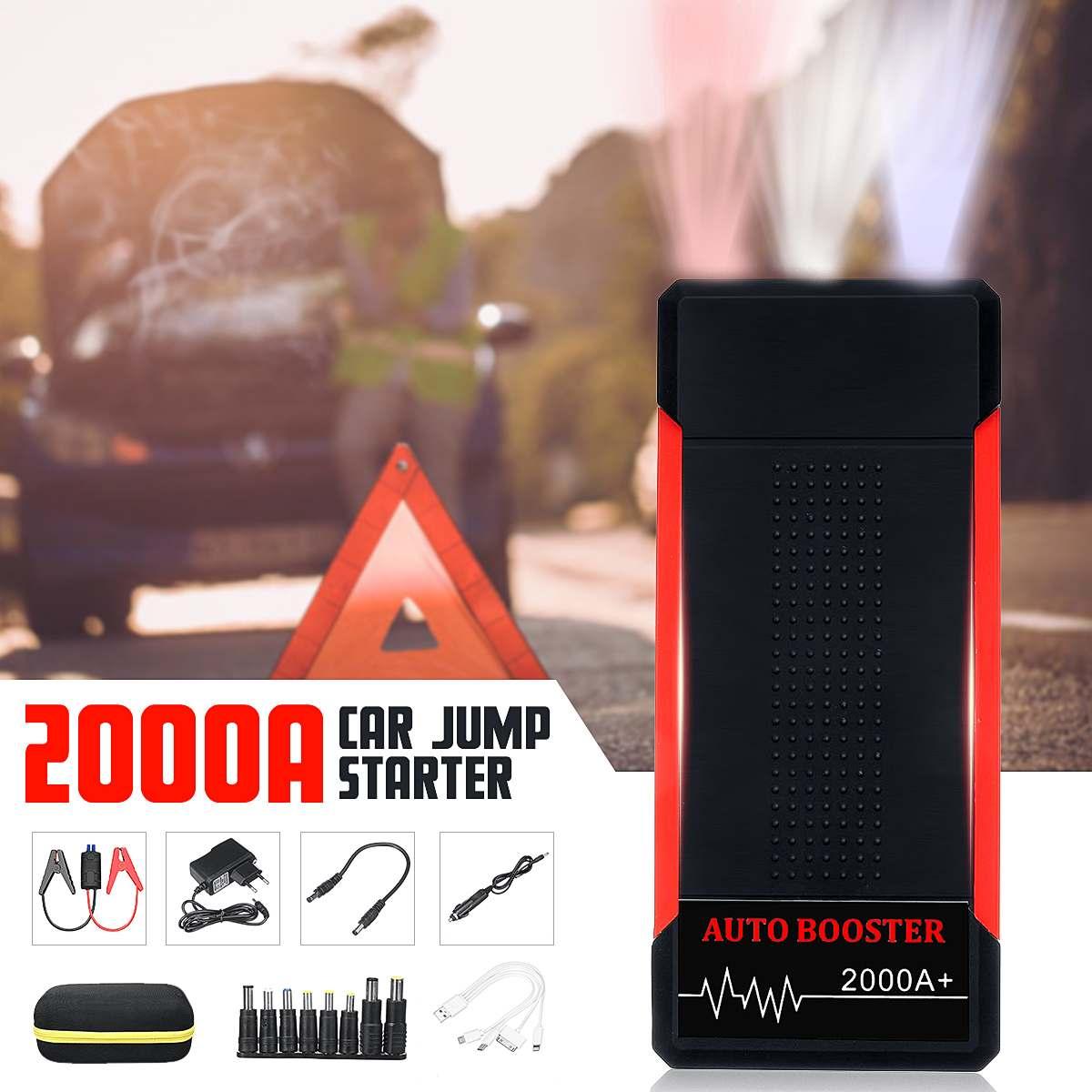 Voiture saut démarreur batterie externe 2000A 24000 MAh Portable voiture batterie Booster chargeur 12 V dispositif de démarrage essence Diesel voiture démarreur