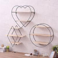 Iron Art Wooden Wall Bookcase Shelving Supporter Bracket Retro Solid Wood Wall Coat Hanger Diamond Heart Round Shaped