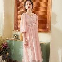 Lace Nightdress Women Spring Summer 2019 New Sleeve Nightgowns Ladies Princess Long Sleepwear Woman Negligee
