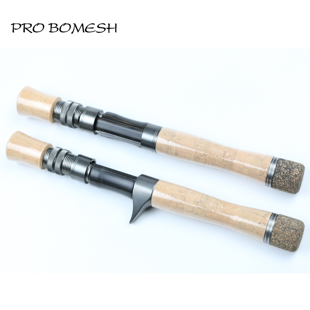 Pro Bomesh 1 Set AA Grade Cork Handle Wood Spinning Cast Reel Seat Set Rubberized Cork Fighting Butt Cap DIY Trout Rod Accessory