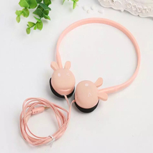 цены Cute Rabbit Headband Stereo Headphones Microphone Portable Wired Headset for Kids Girls Mobile Phone iPhone Samsung Gift Pink