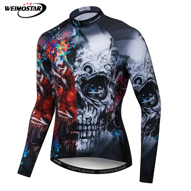 Weimostar 2019 Pro Team Cycling Clothing Skull Men Long Sleeve Racing Cycling Jersey Autumn Polyester mtb