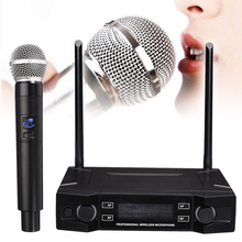 цена на Wireless Microphone System 2 Channel Cordless Handheld Mic Receiver Microphones Karaoke for Home Party Stage Mic Speakers