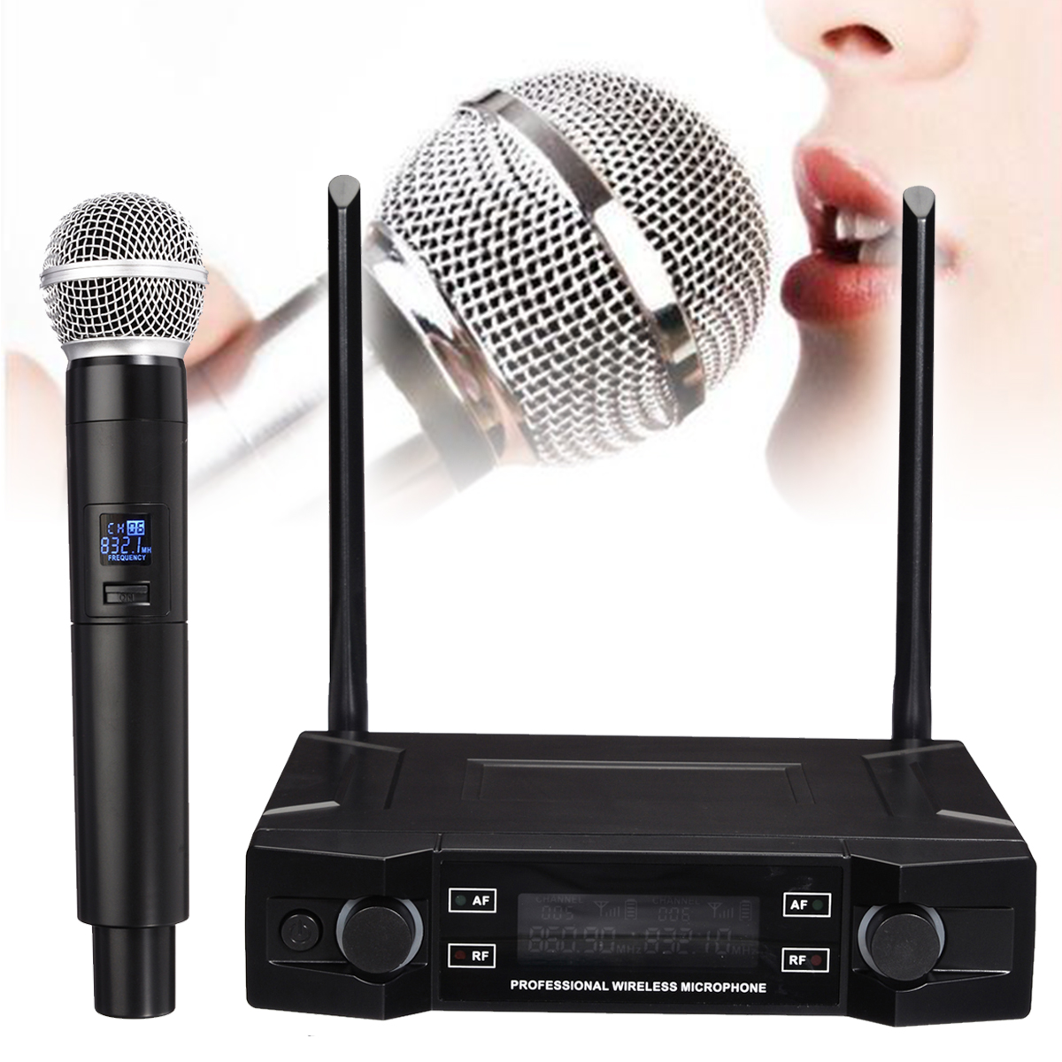 Wireless Microphone System 2 Channel Cordless Handheld Mic Receiver Microphones Karaoke for Home Party Stage Mic Speakers