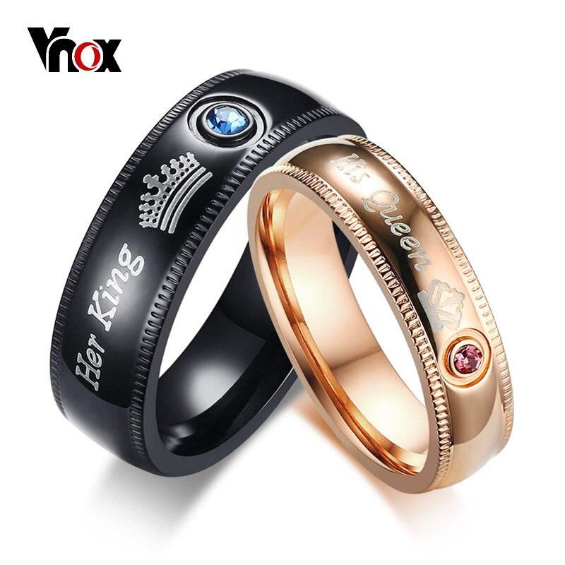 ddf6f14de2f3 Vnox anillos de boda personalizados para Mujeres Hombres corona su reina Su  Rey bandas de compromiso