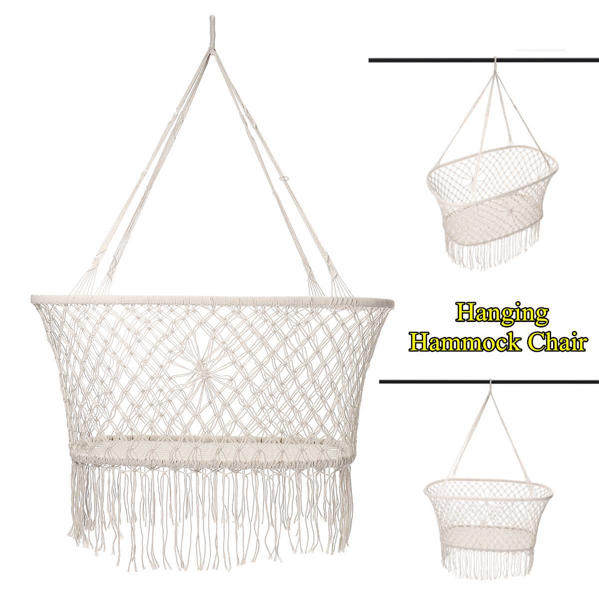 Corde de coton gland hamac chaise balançoire hamac enfants bascule sommeil lit intérieur extérieur suspendu seste enfant balançoire siège - 5