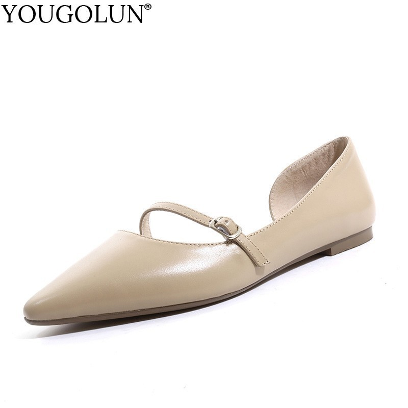 Women Flat Shoes Genuine Leather New 2019 Summer Casual Ladies Buckle Shoes Fashion Woman Black Beige